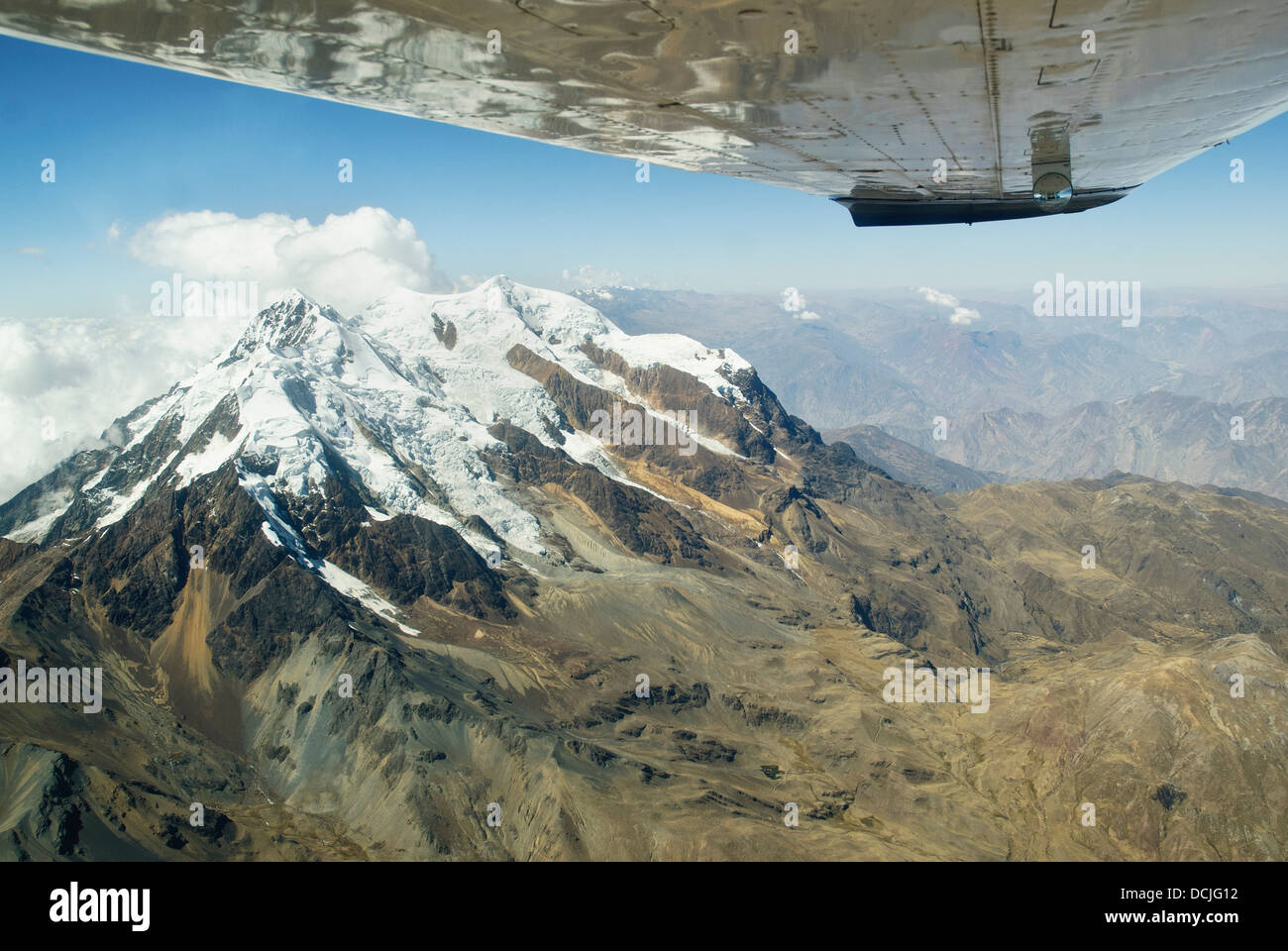 Aerial view of the mountain Illimani - Stock Image