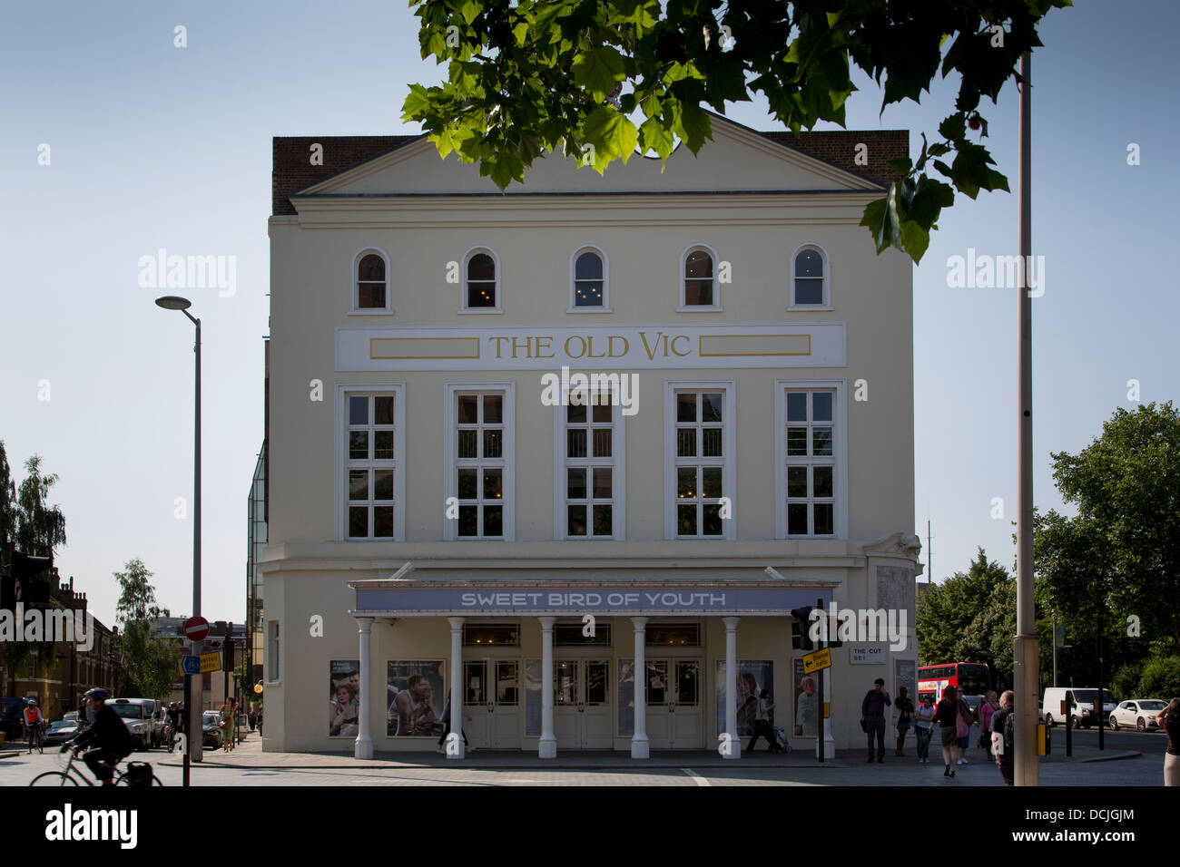 The facade of The Old Vic Theatre in London. - Stock Image