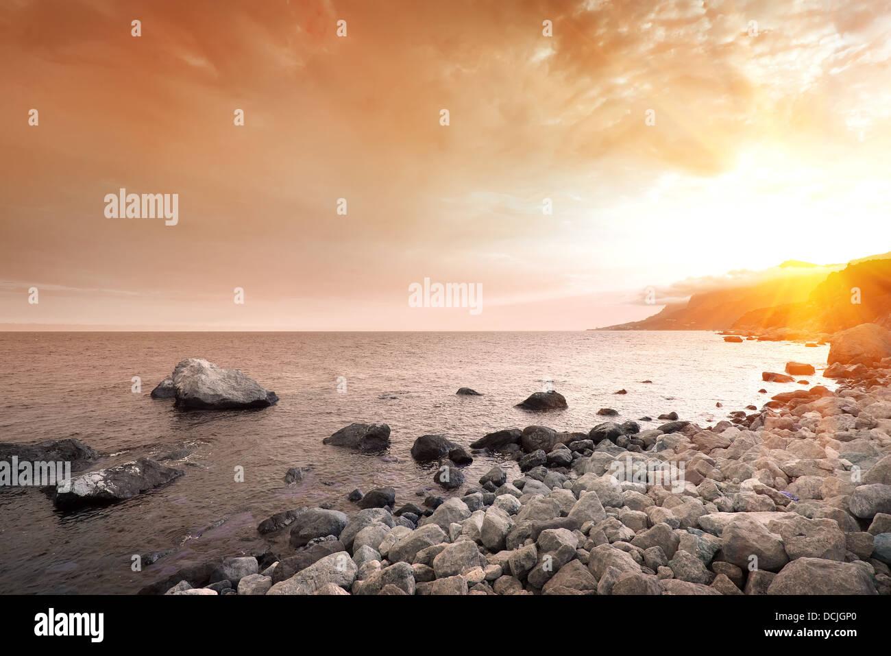 Scenic sunset at Black Sea in Crimea - Stock Image