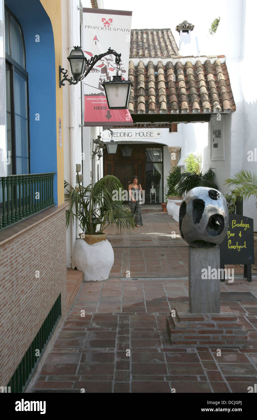 Streetlamp on building in village, Costa del Sol, Spain - Stock Image