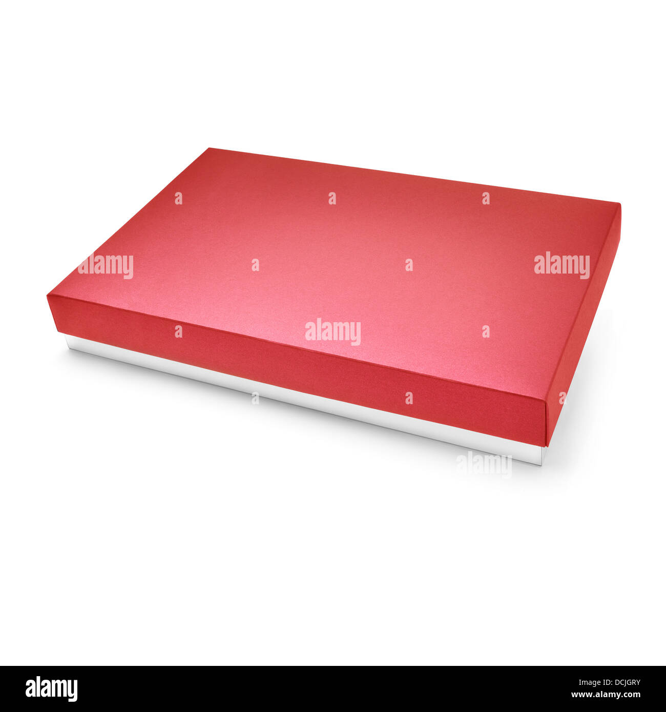 Red color cardboard box on white background - Stock Image