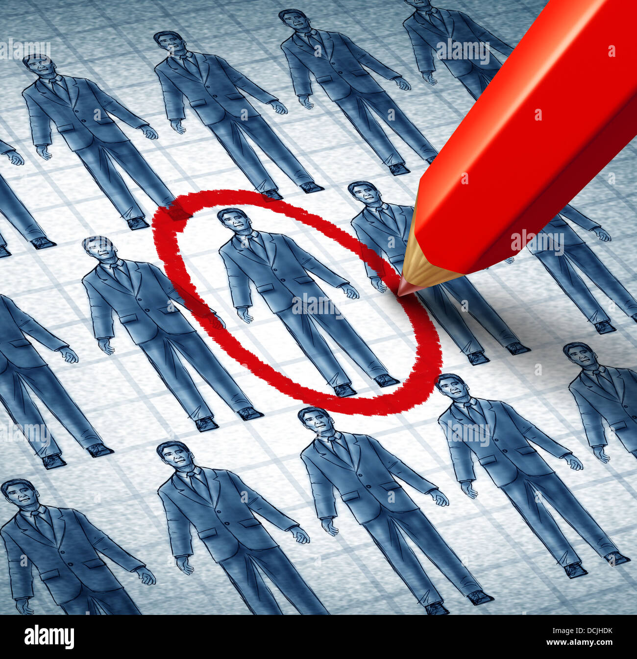 Career search and job searching hiring the right candidate as an employment concept with drawings of businessmen - Stock Image