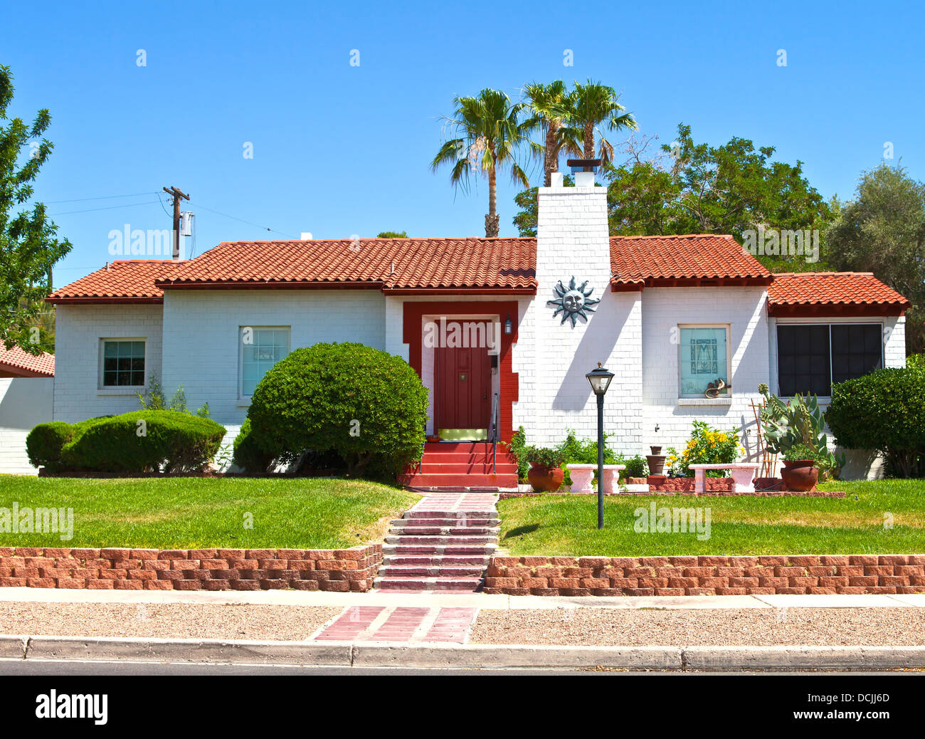 A manicured residential home in Boulder city Nevada. - Stock Image
