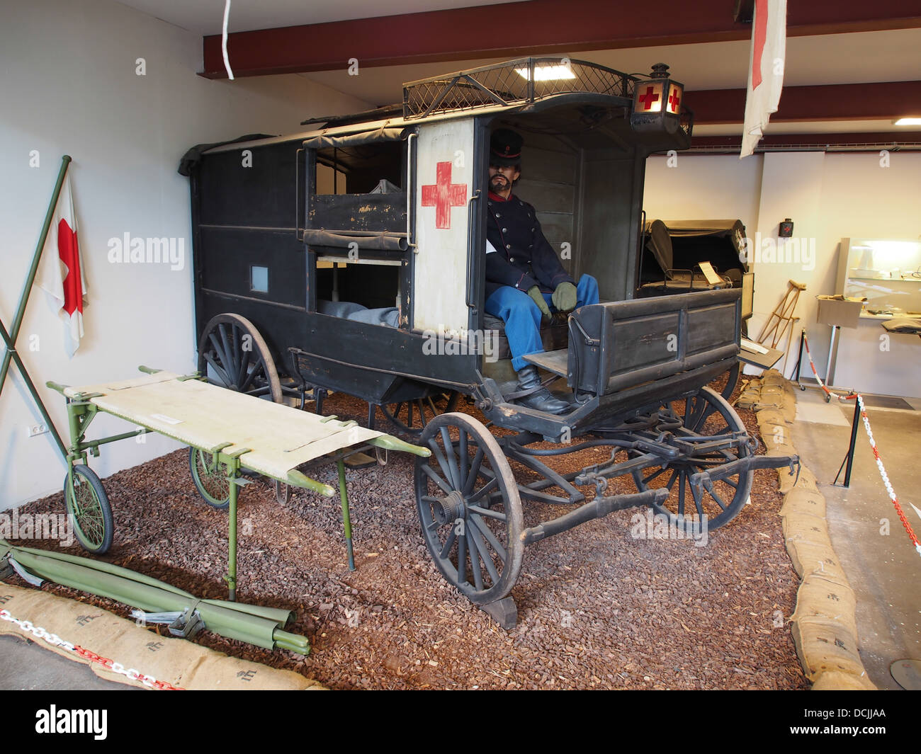 Ambulance carriage, photographed at the Aalborg Forsvars- og Garnisonsmuseum - Stock Image