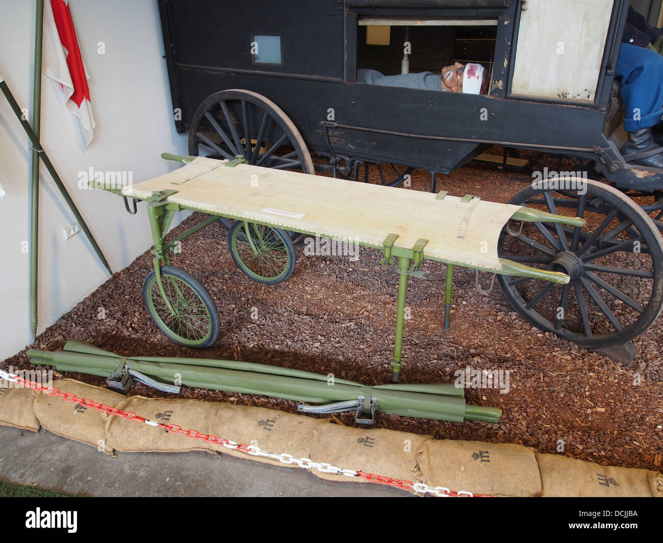 Old wheeled stretcher, photographed at the Aalborg Forsvars- og Garnisonsmuseum - Stock Image