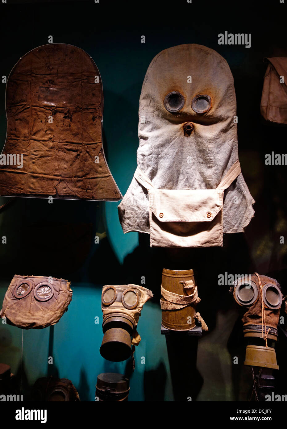 Collection of WWI gas masks of the First World War One in the Memorial Museum Passchendaele 1917 at Zonnebeke, Flanders, - Stock Image