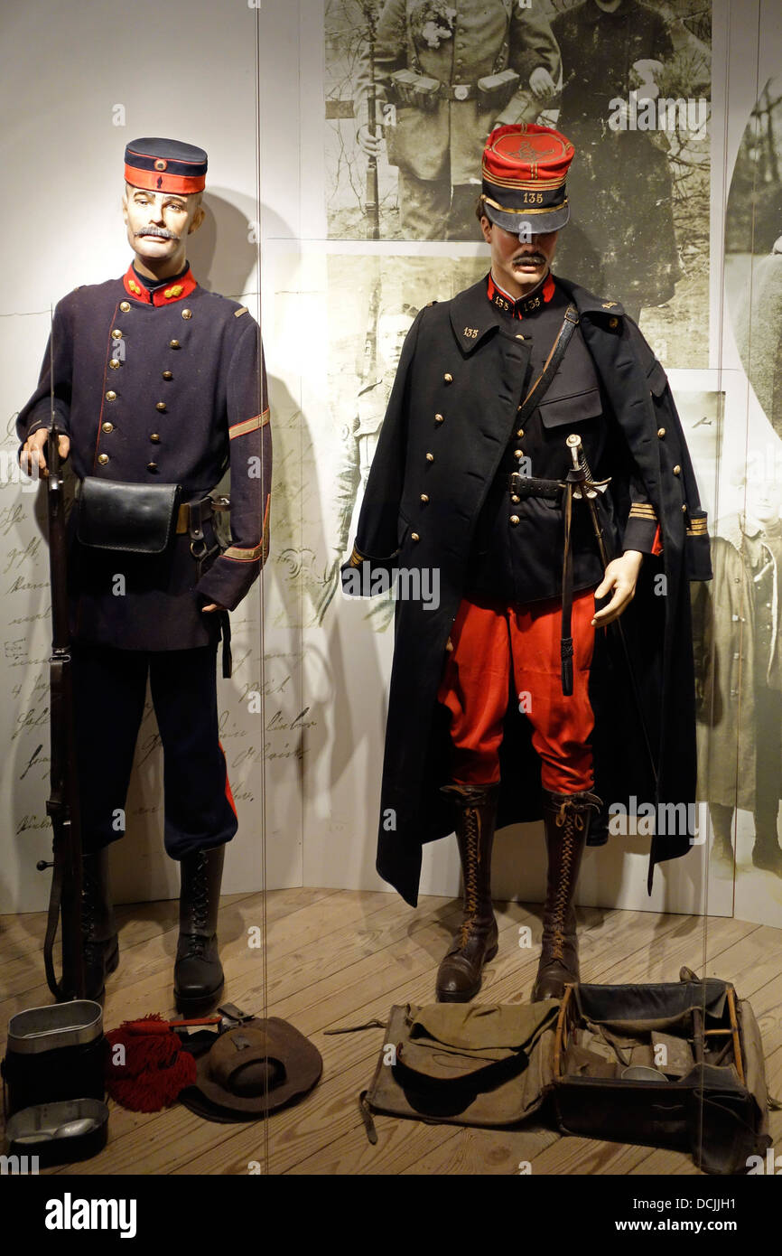 Uniforms of First World War One Belgian soldier and French
