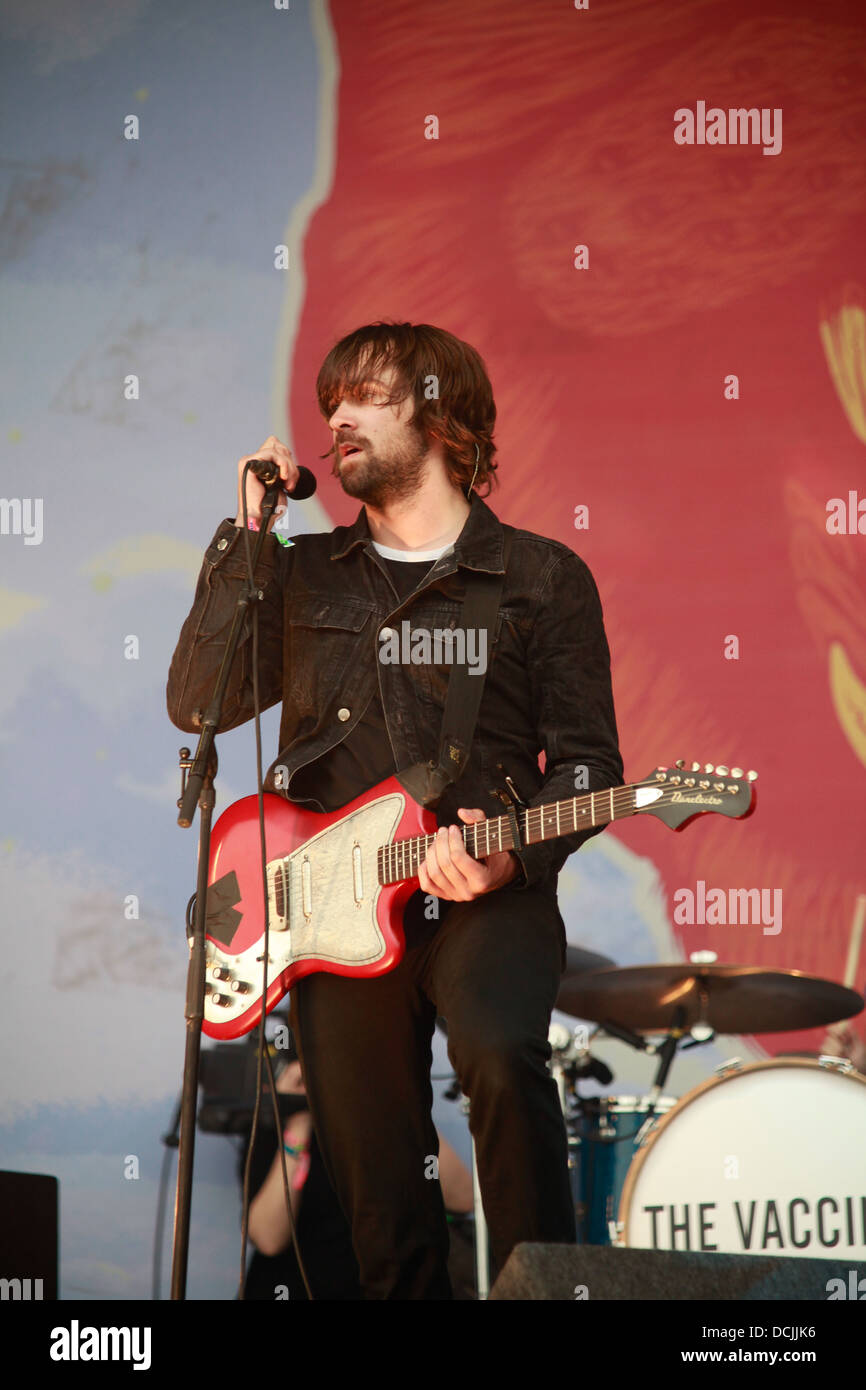 The Vaccines performing on the Pyramid stage, Glastonbury Festival 2013, Somerset, England, United Kingdom. - Stock Image