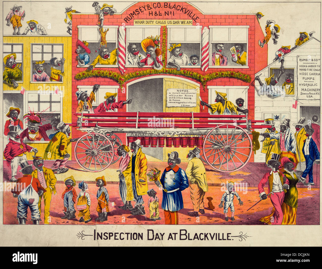 Inspection day at Blackville - Satirical look at African Americans, circa 1887 - Stock Image
