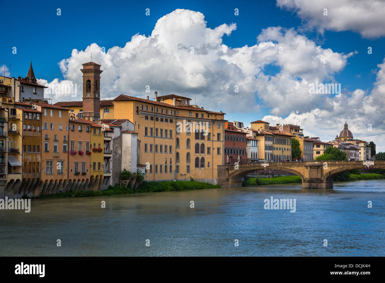 Buildings along the Arno river near Ponte Vecchio in Florence, Italy - Stock Image