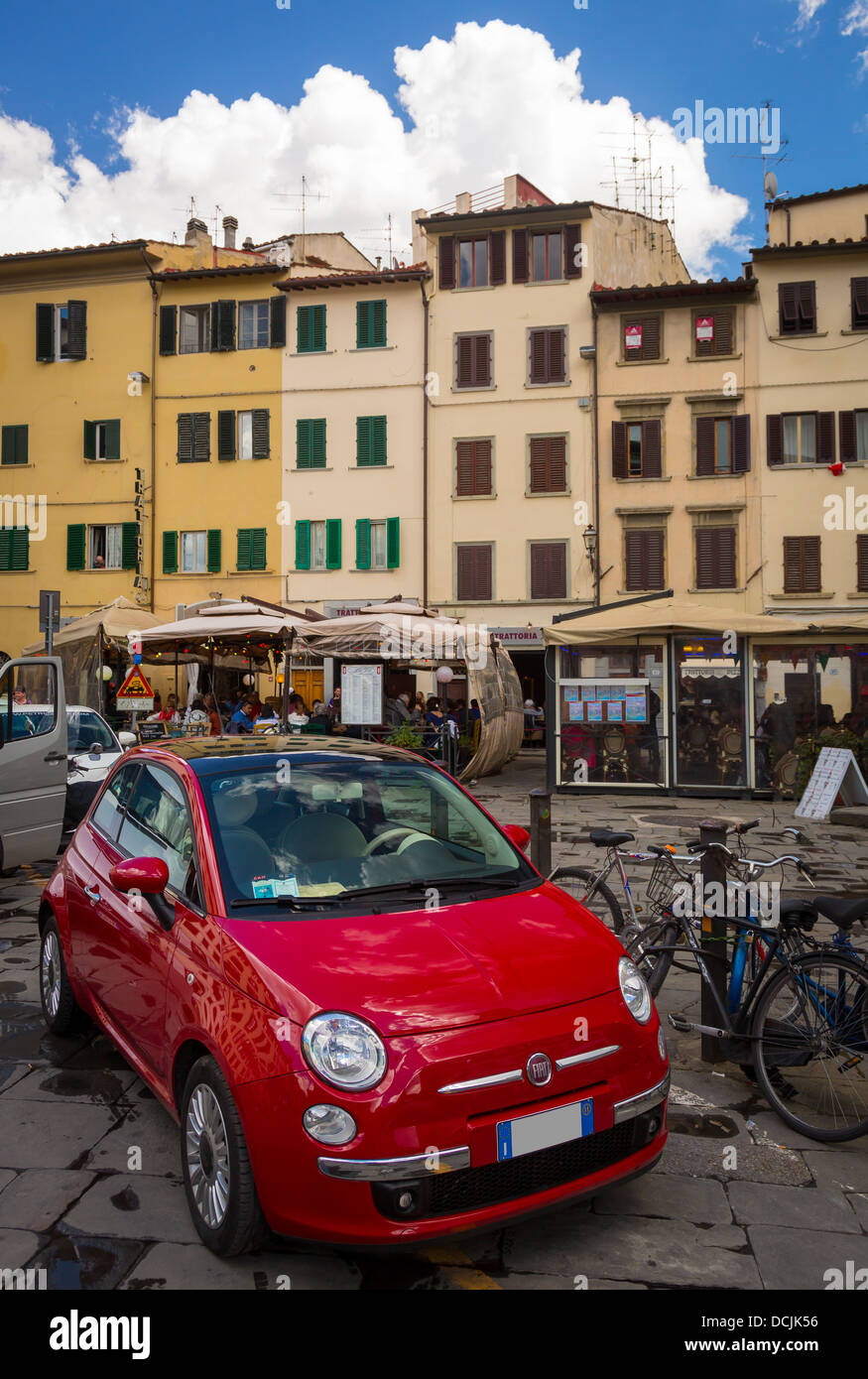 Fiat car parked in Piazza del Mercado Centrale in Florence, Italy - Stock Image