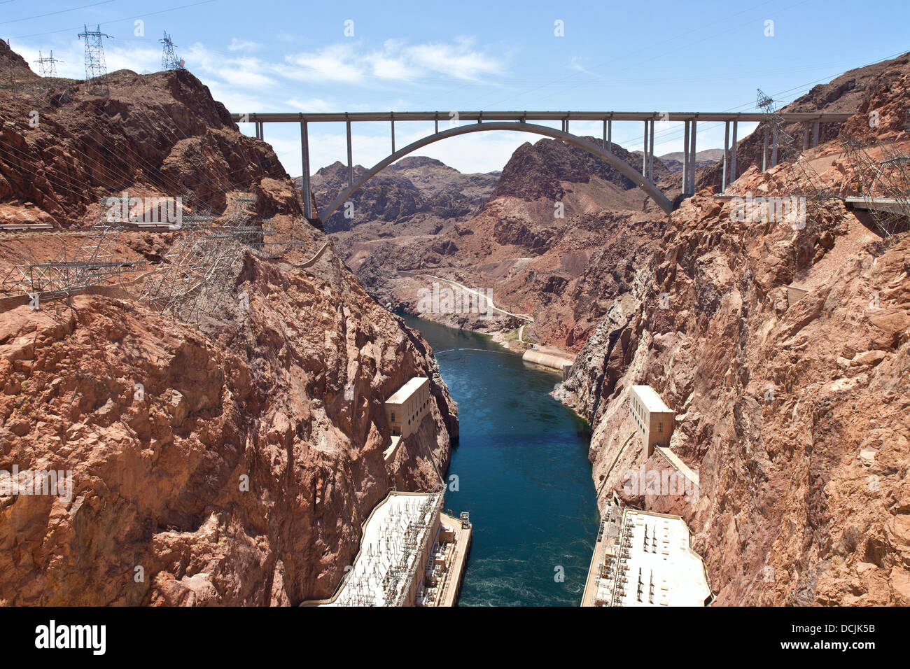 Hoover Dam Canyonland and bridge connecting two states Nevada - Arizona. - Stock Image
