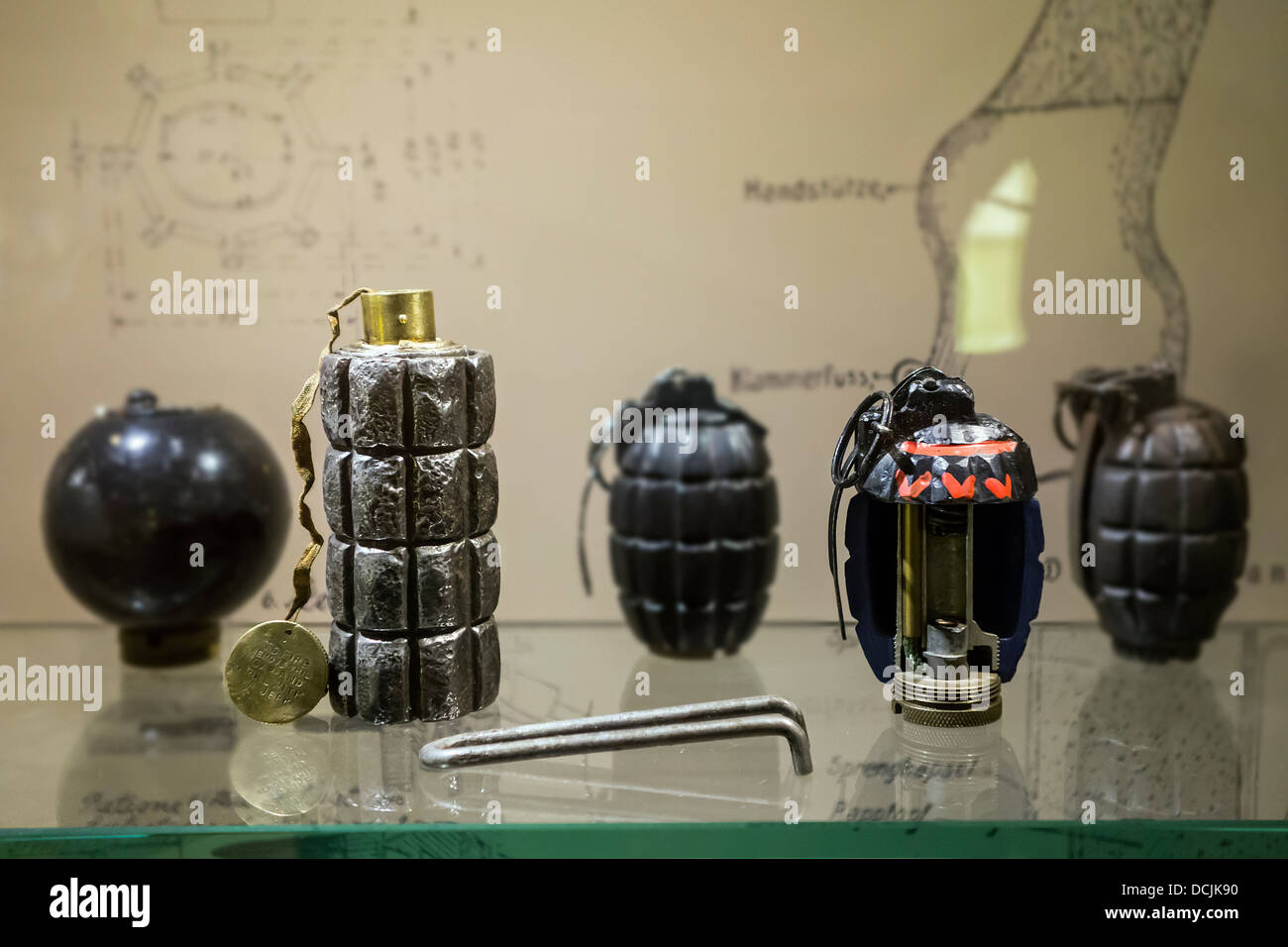 WW1 hand grenades of the First World War One in the Memorial Museum Passchendaele 1917 at Zonnebeke, West Flanders, - Stock Image
