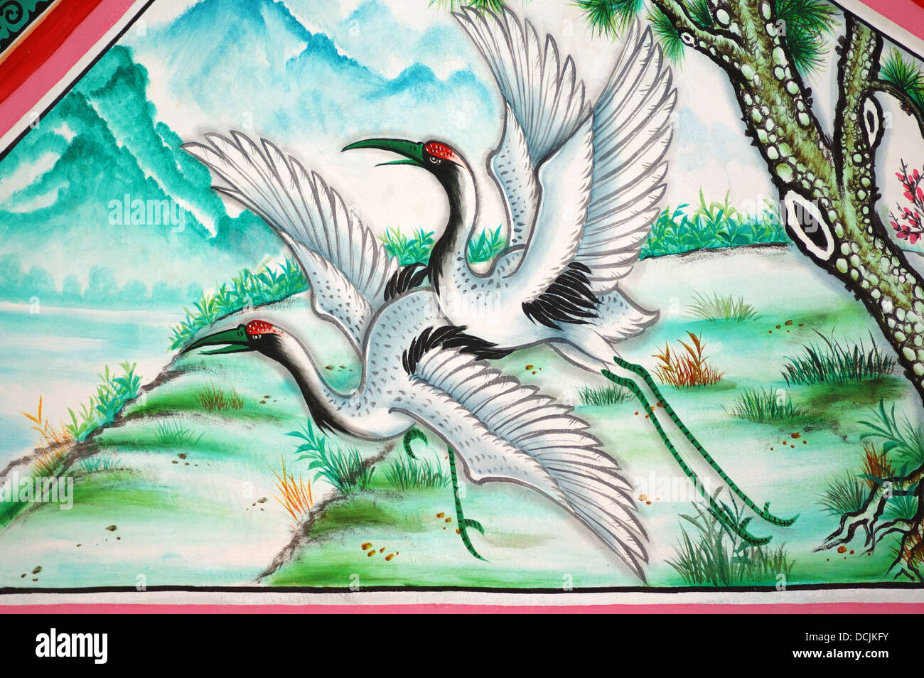 Birds In Wall Painting Mural At Ang Sila Chinese Temple Or Wihan