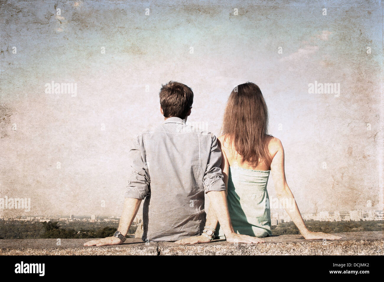 artwork in grunge style, girl and boy - Stock Image