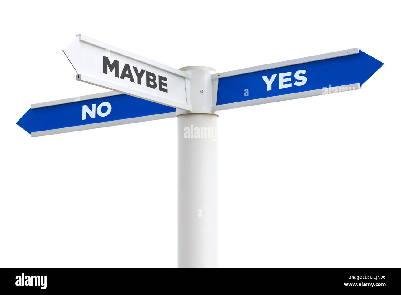 Yes No Maybe Crossroads Sign Isolated on White Background - Stock Image