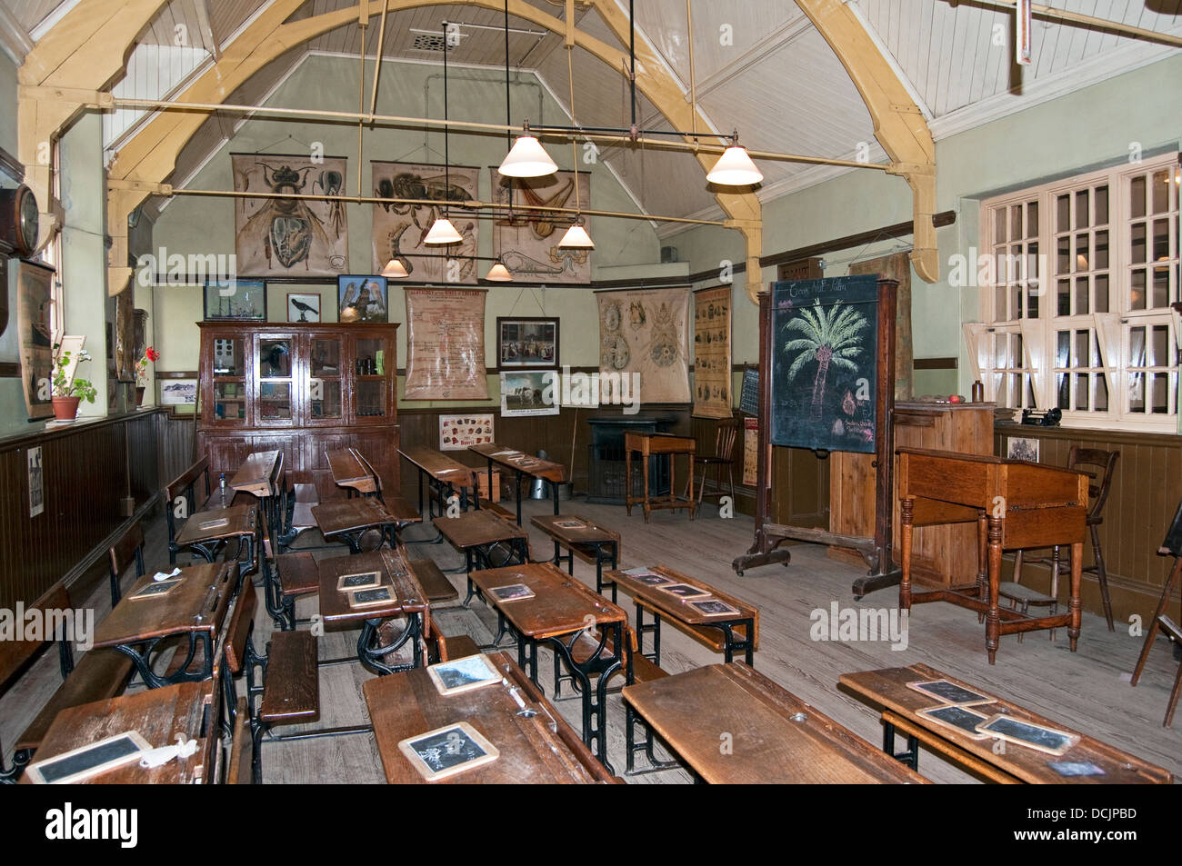 Edwardian/Victorian schoolroom at the North of England Open Air Museum, Beamish, Durham County, England, UK. - Stock Image