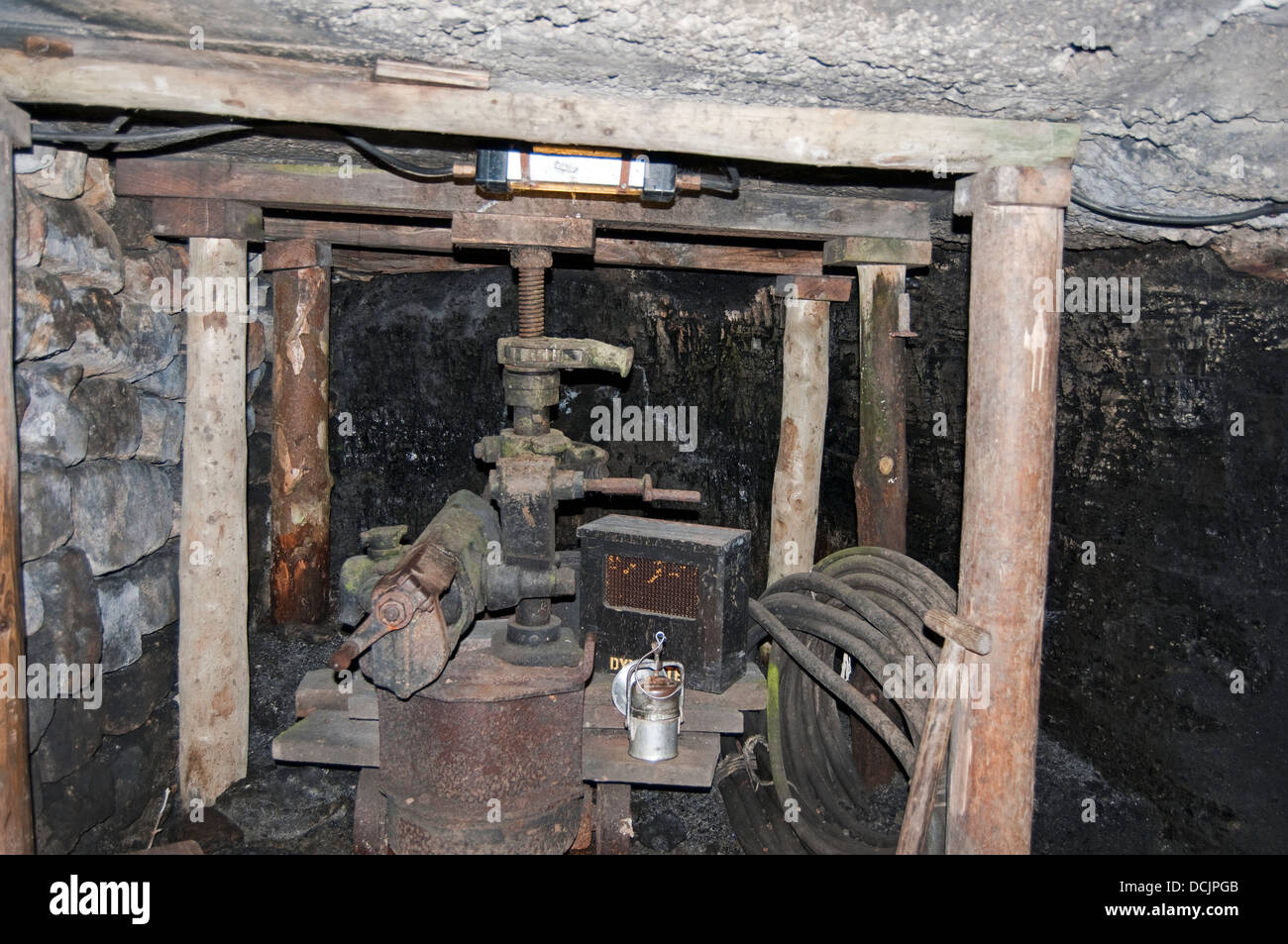 Edwardian/Victorian Colliery coal cutting machinery North of England Open Air Museum, Beamish, Durham County, England, - Stock Image