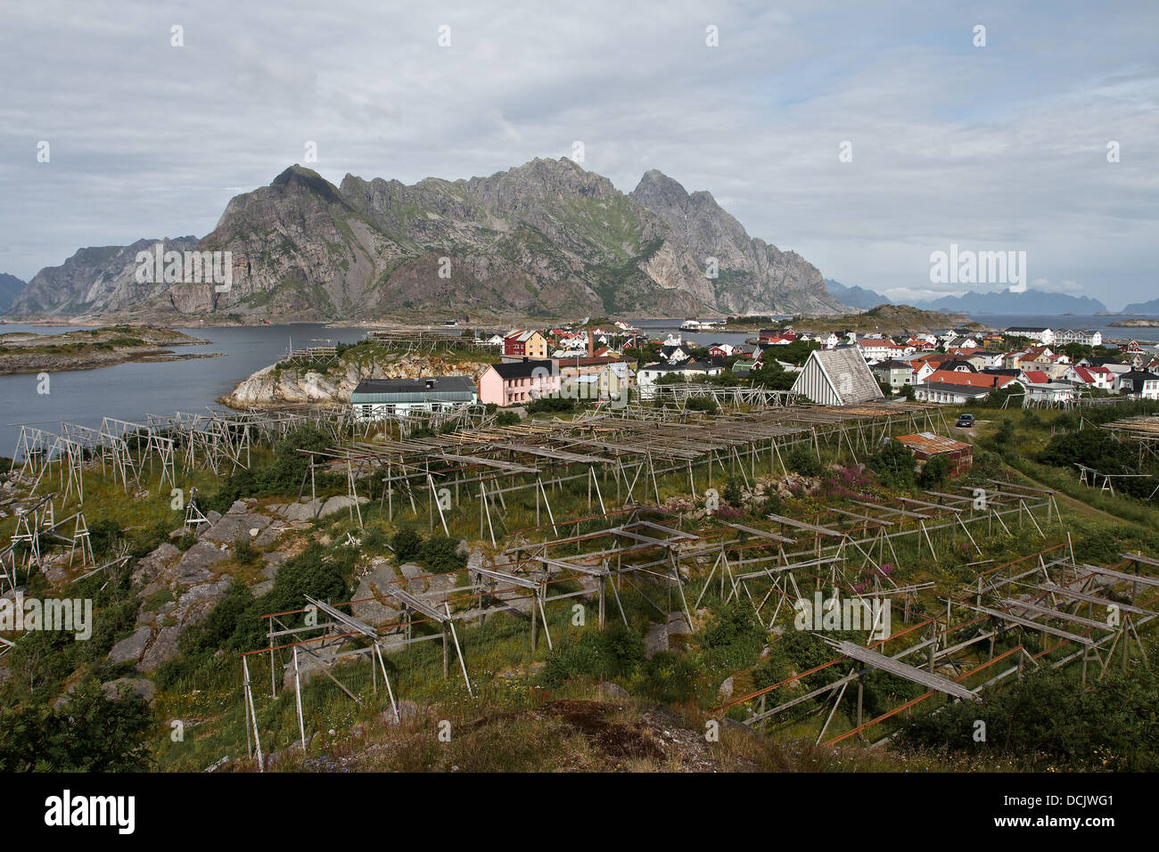Great view from above of typical Norwegian fish drying frames, in Lofoten, Arctic Norway. Stock Photo