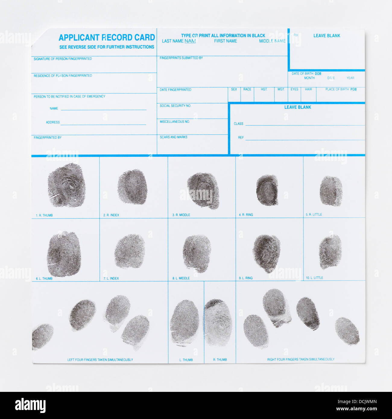 Fingerprint Record Card - Stock Image
