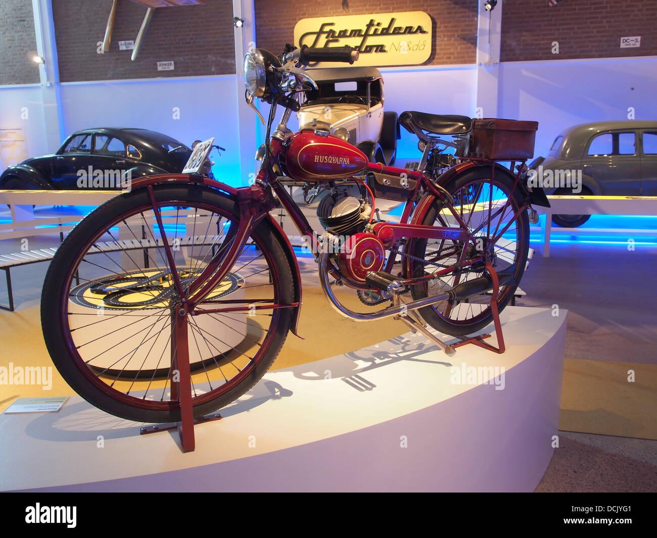 1938 Husqvarna motorcycle Teknikens och Sj C3 B6fartens hus, Science and Maritime House - Stock Image