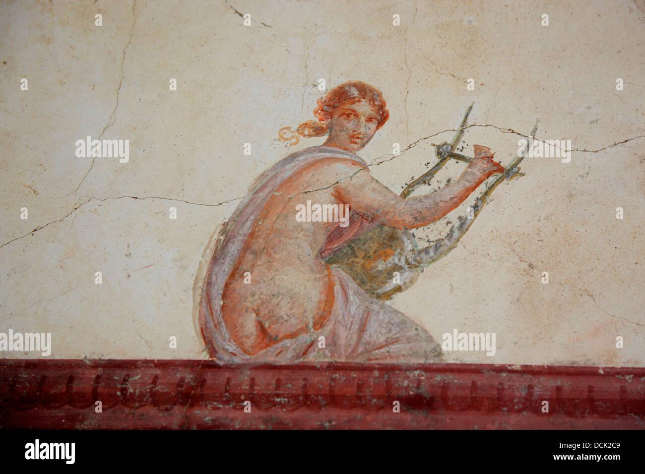 Historic wall fresco in the Villa San Marco, Stabiae, Castellammare ...