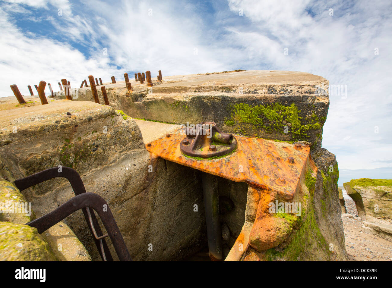 The Remains of a gun emplacement at the Godwin battery on the beach at Kilnsea - Stock Image