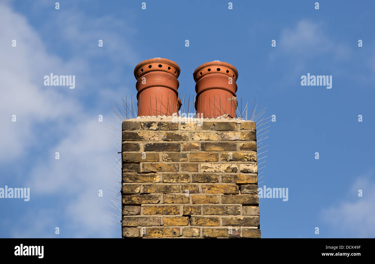 19/08/2013 chimney pots in Southend-on-Sea - Stock Image
