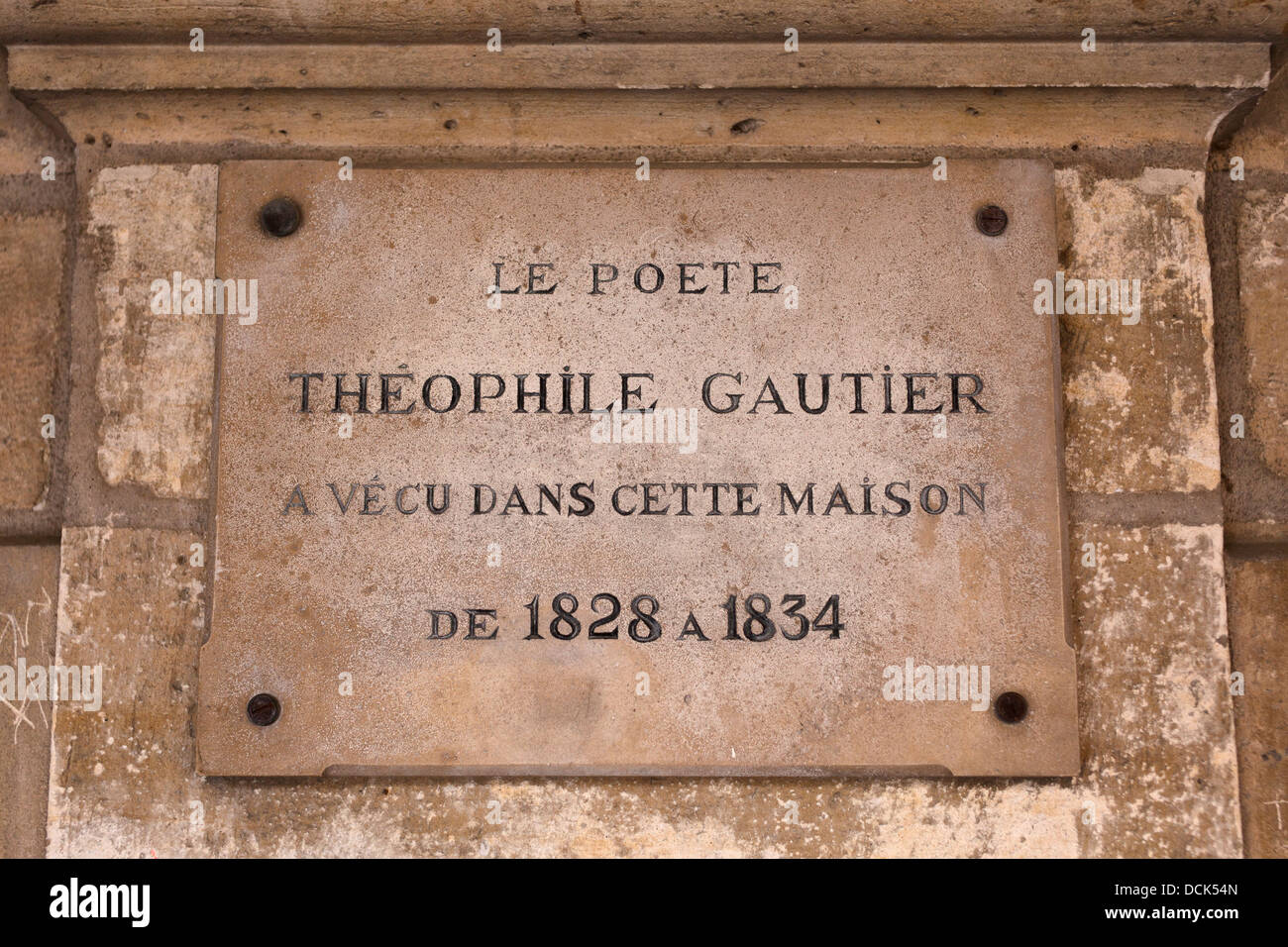 Historic plaque marking the former address of French poet
