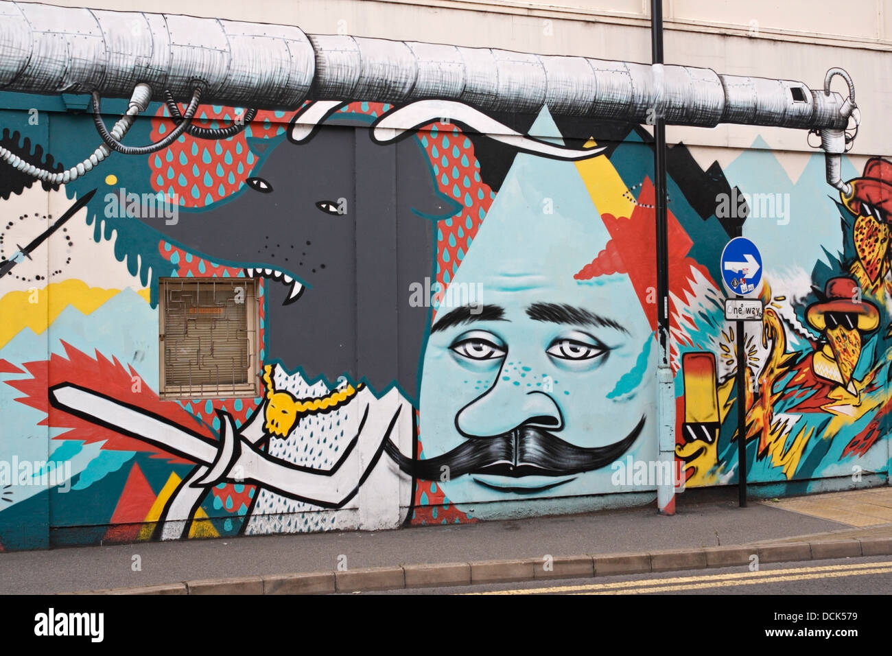Street art graffiti on the side of a building in sheffield stock image
