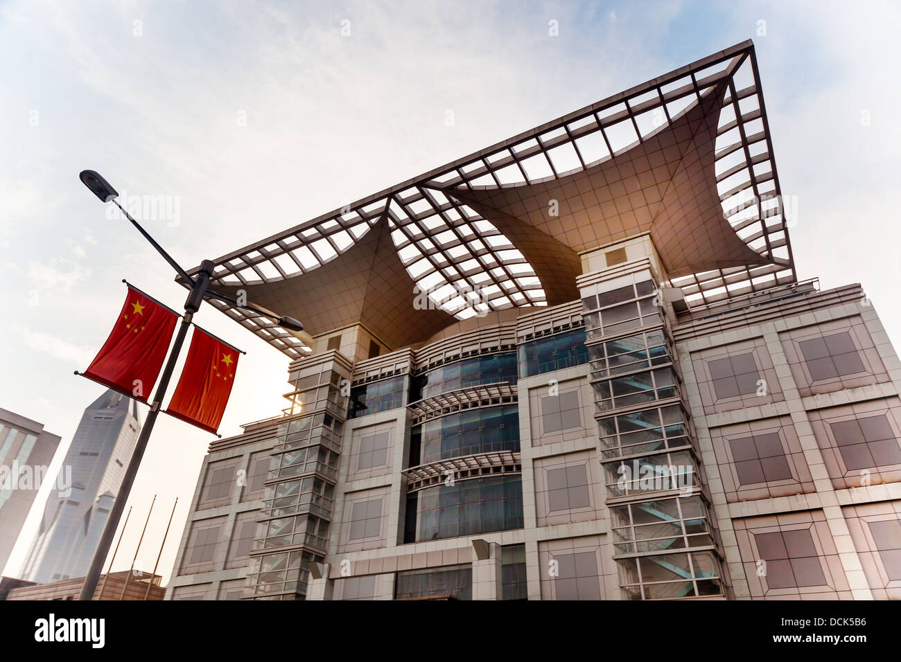 Urban Planning Exhibition Hall Museum Modern Building People's Square Shanghai China with Flag - Stock Image