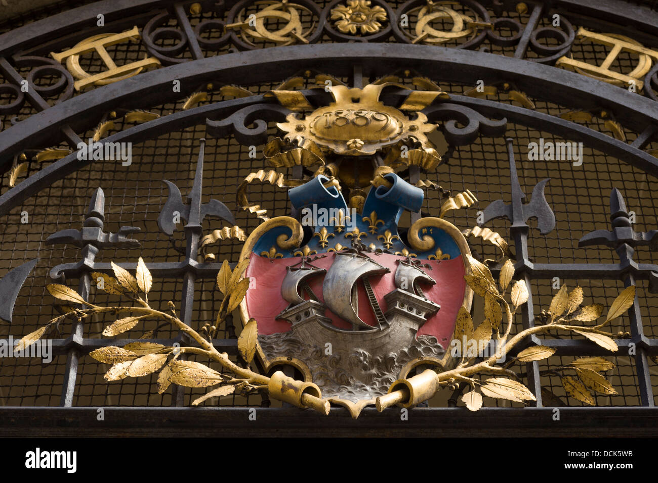 Paris coat of arms at entrance to the Carnavalet Museum Paris, France (dedicated to Paris history) - Stock Image