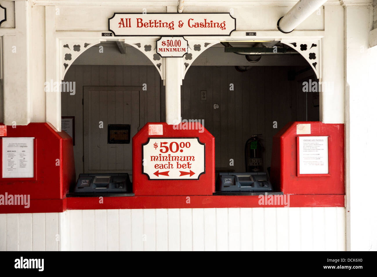 Ticket booth at Saratoga Raceway, the oldest horse race track in the United States. The original track was built - Stock Image
