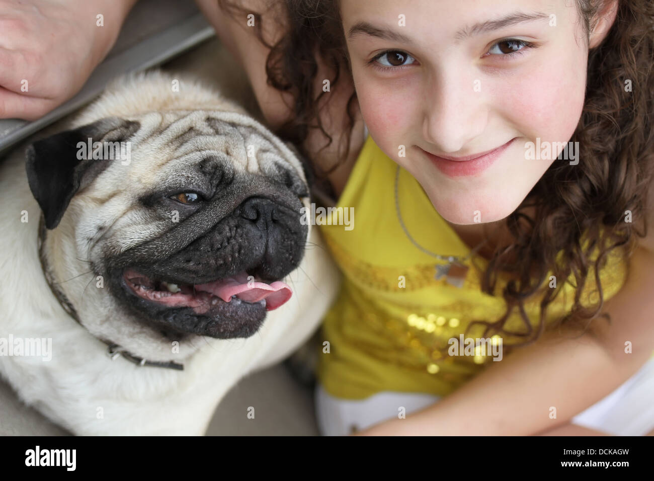 Girl with a cute mops dog - Stock Image