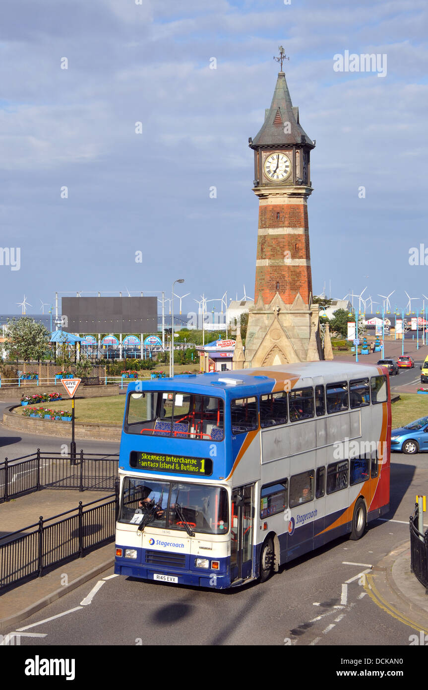 Stagecoach double decker bus, Skegness, Lincolnshire, England, UK - Stock Image