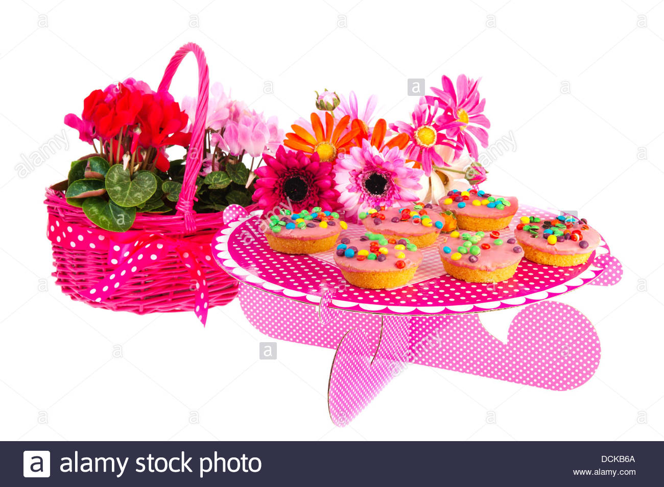 Awesome Birthday Cakes And Flowers Stock Photo 59432866 Alamy Birthday Cards Printable Opercafe Filternl