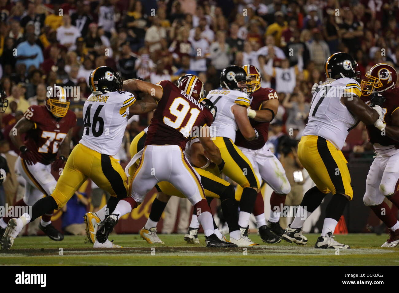 Landover, MD, USA. 19th Aug, 2013. August 19th 2013, Landover, MD, FedEx Field Washington Redskins take on the Pittsburgh - Stock Image