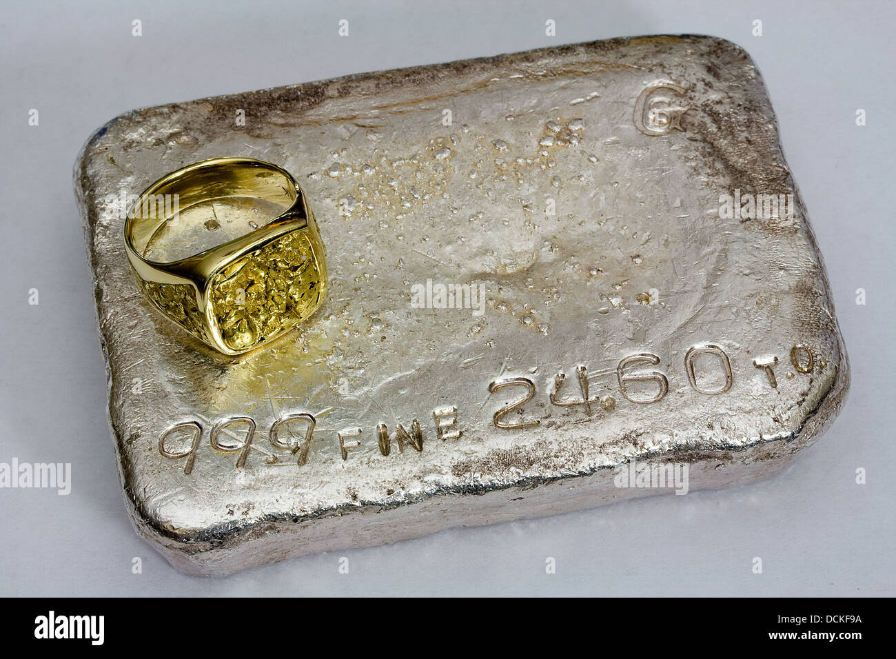 Large Gold Nugget Ring and 24.60 Troy Ounce Silver Bullion Bar (Poured Ingot) - Stock Image