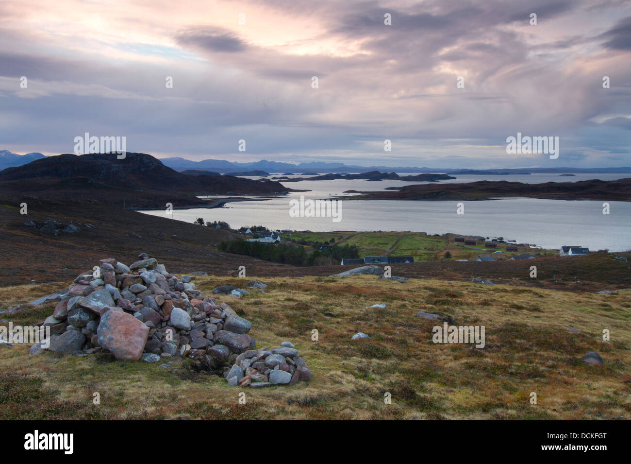 cairn view of harbor - Stock Image