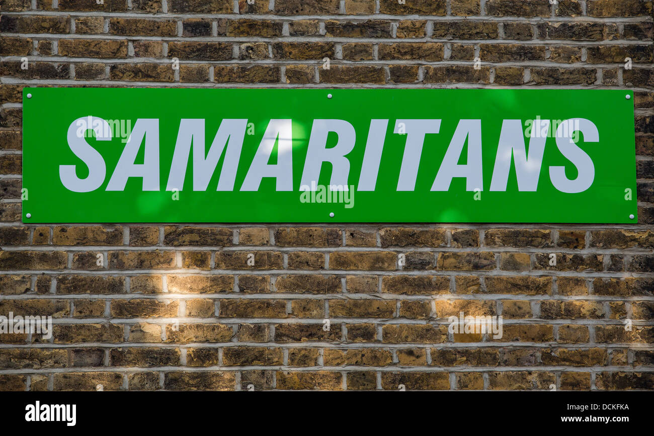 19/08/2013 Samaritans, sign in Southend-on-sea Stock Photo