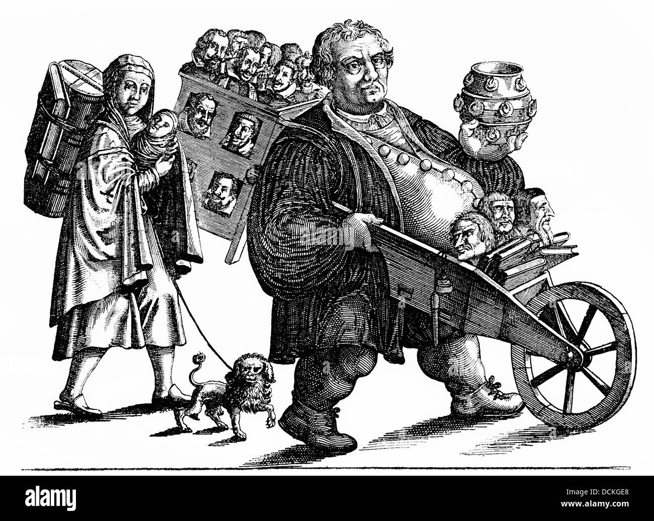 caricature of Martin Luther and his wife - Stock Image