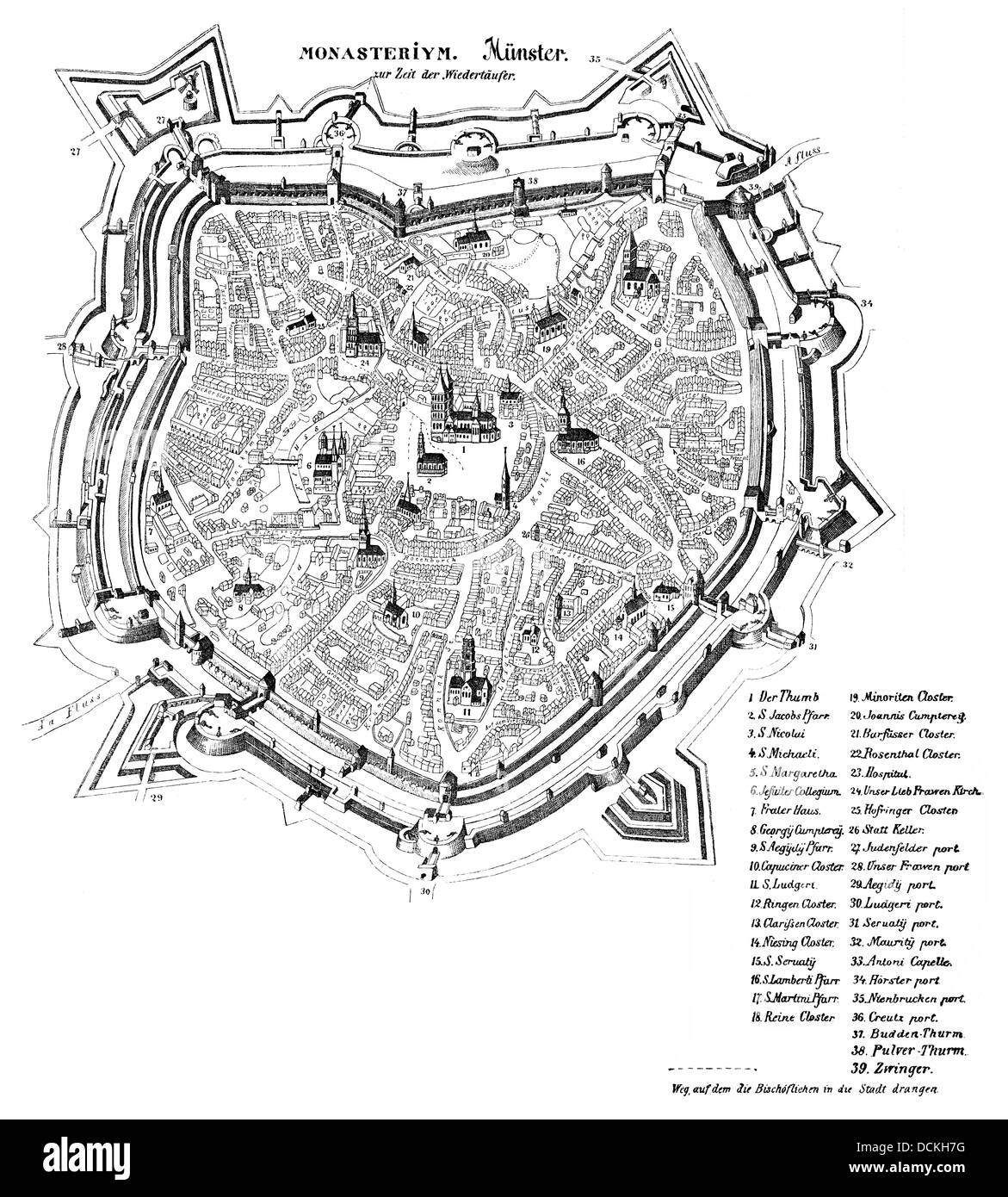 map of Muenster in the 16th Century at the time of the Anabaptists, Muenster, Germany, Europe - Stock Image