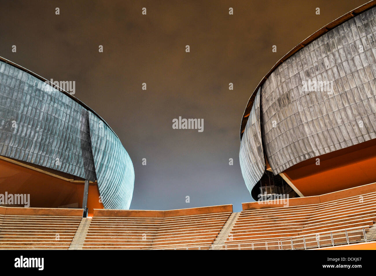 Parco Della Musica, Rome, Italy. Architect: Renzo Piano, 2002. Two auditoriums with steps. Stock Photo