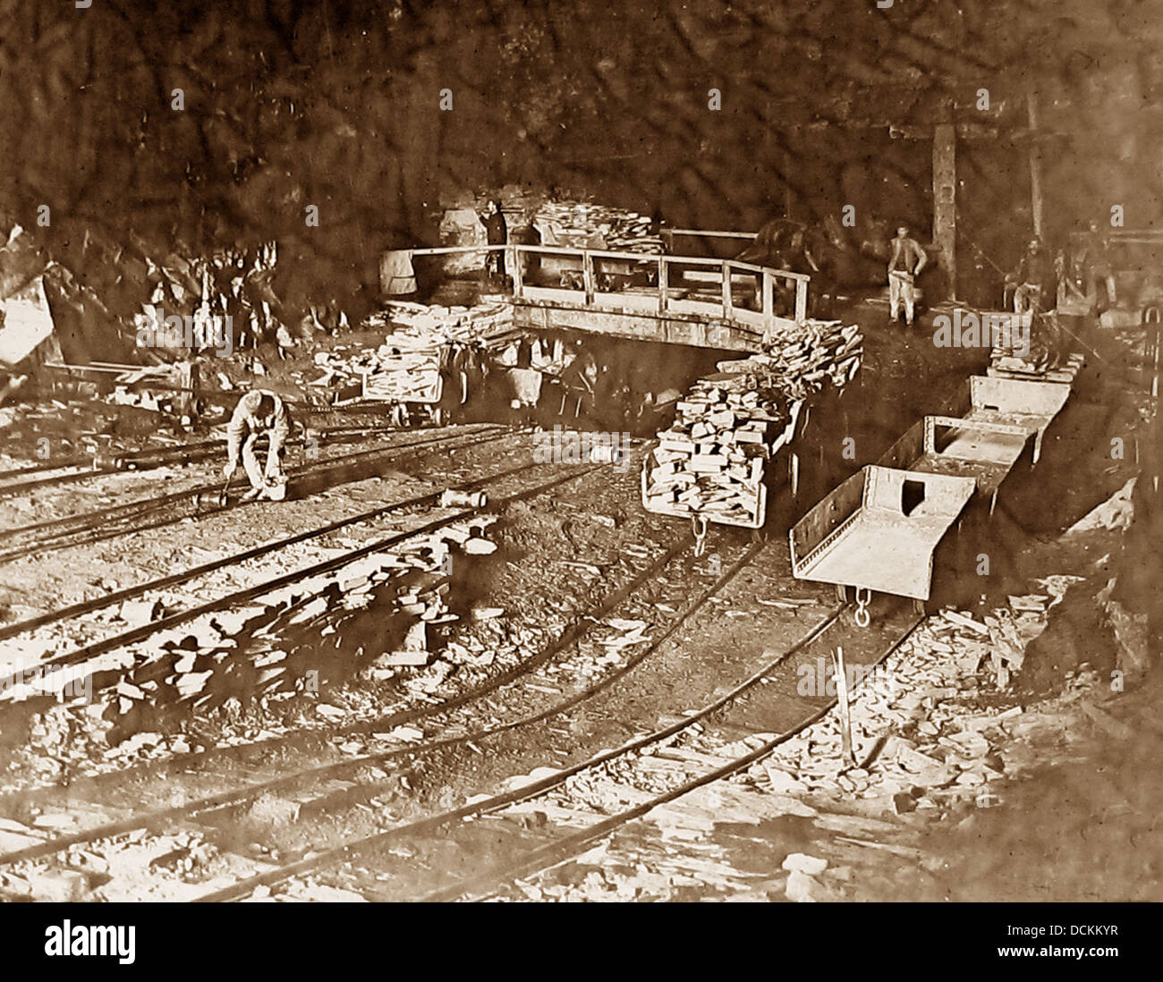 North Wales Llechwedd Slate Quarry / Mine Victorian period Stock Photo