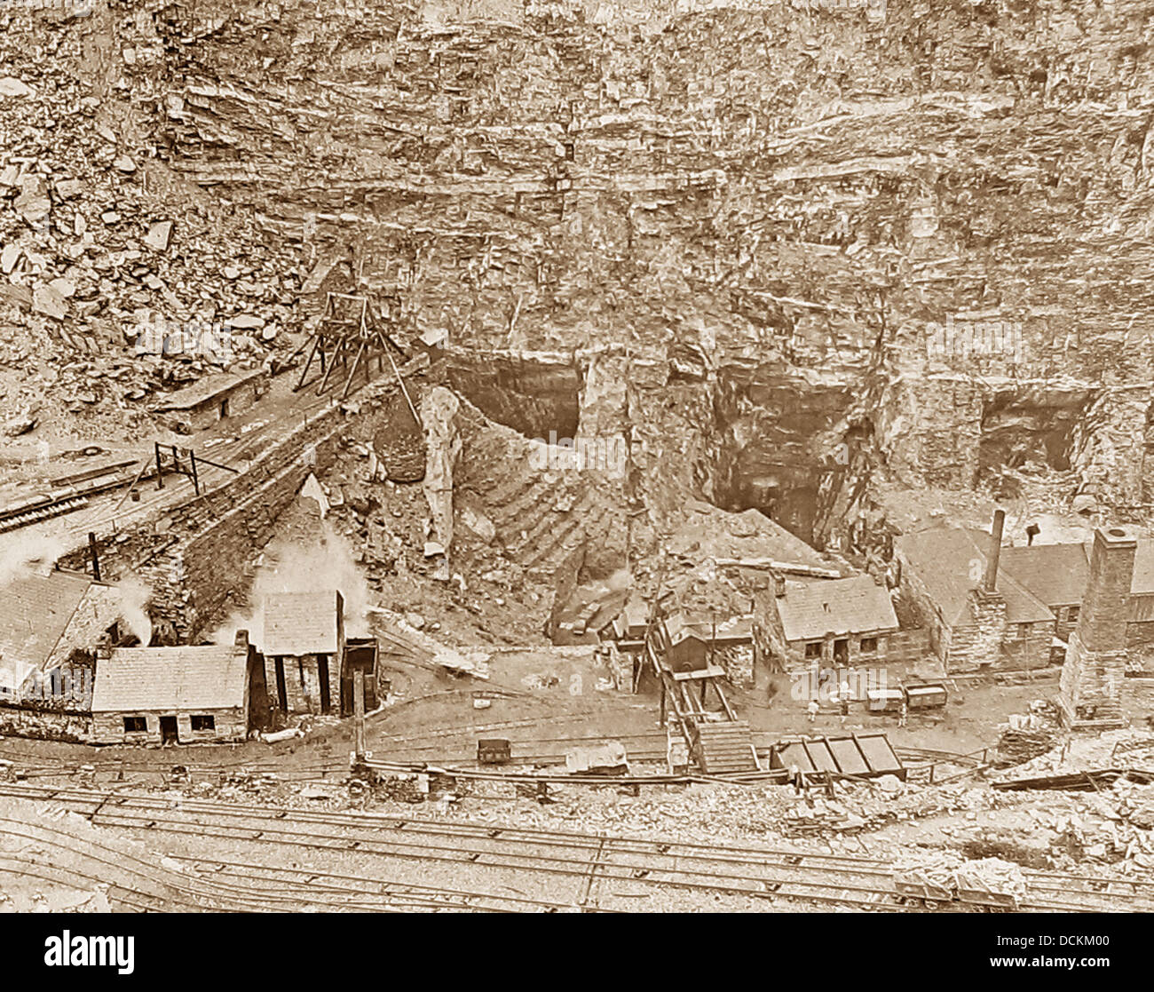 North Wales Oakeley Slate Quarry Victorian period - Stock Image