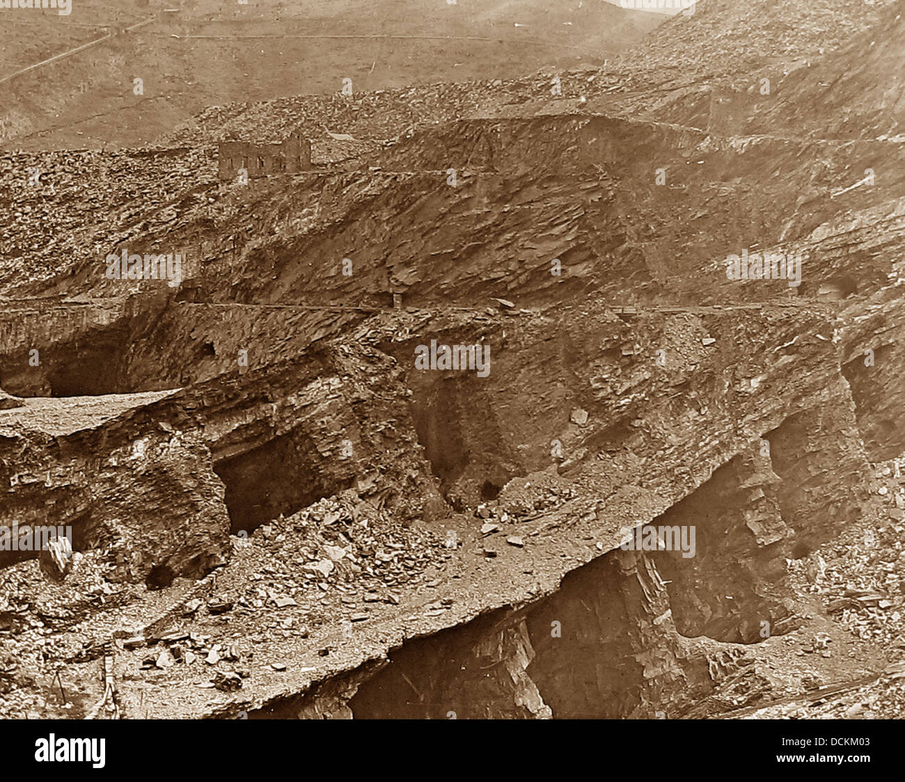 North Wales Volty and Bowydd Slate Quarry Victorian period - Stock Image