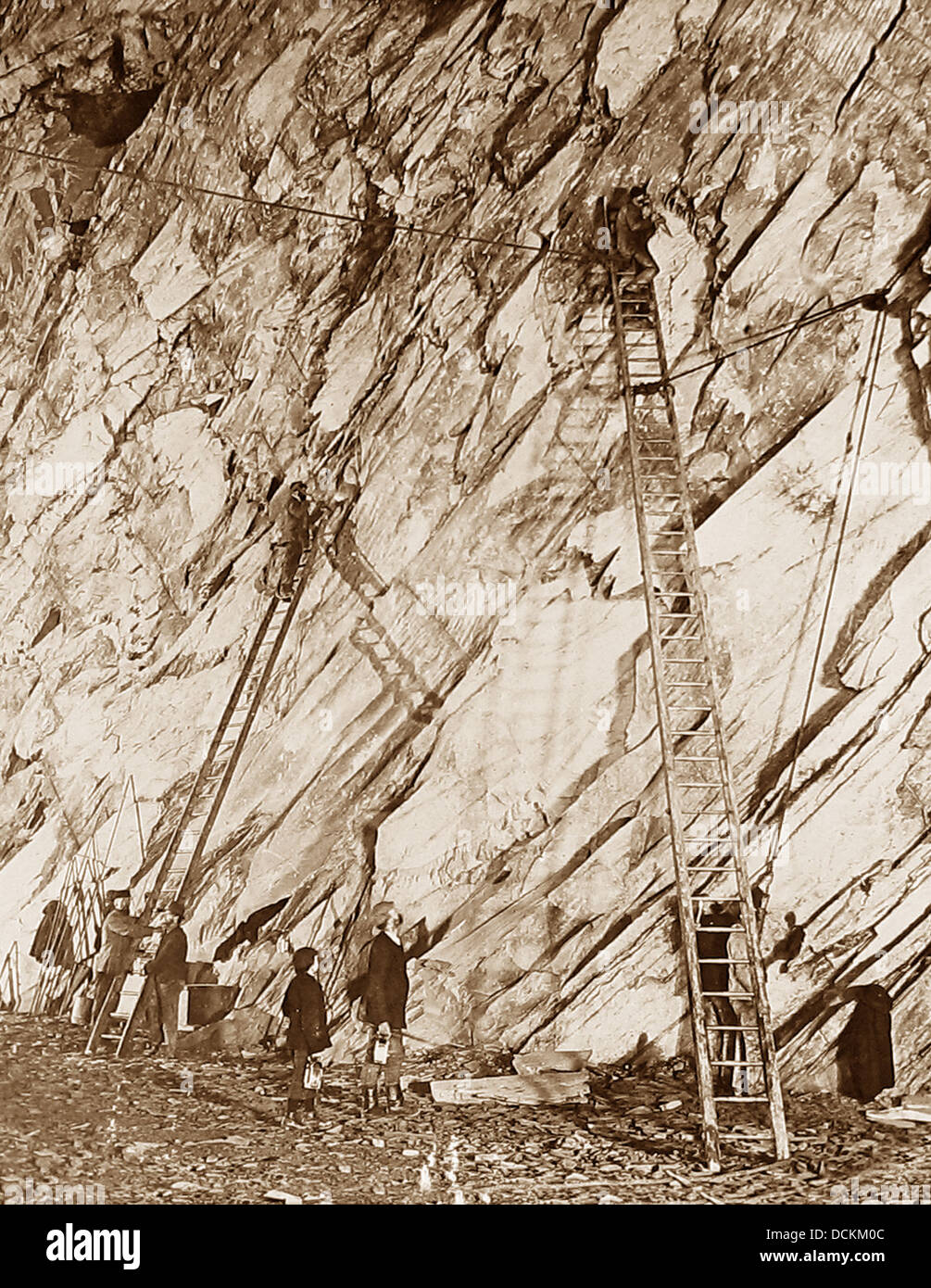 North Wales Slate Quarry / Mine Victorian period - Stock Image