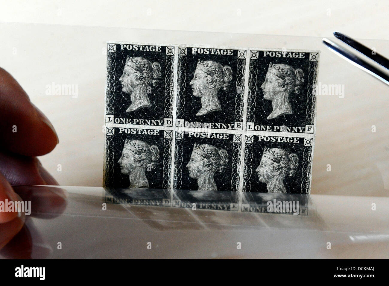 Brno, Czech Republic. 20th Aug, 2013. Penny Black stamps, world's first adhesive postage stamps is seen at the - Stock Image