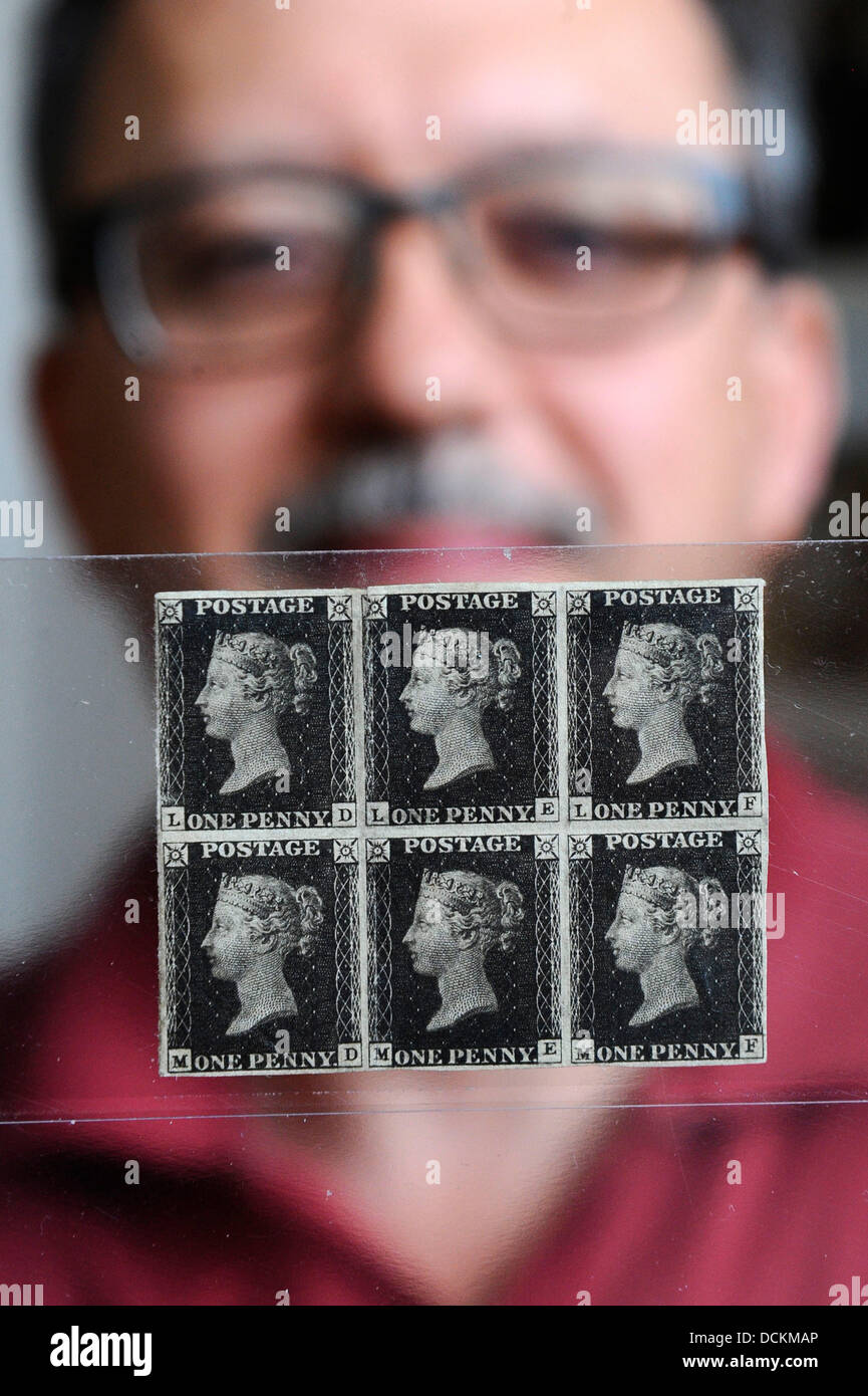 Brno, Czech Republic. 20th Aug, 2013. Penny Black stamps, world's first adhesive postage stamps in Brno. 20th - Stock Image