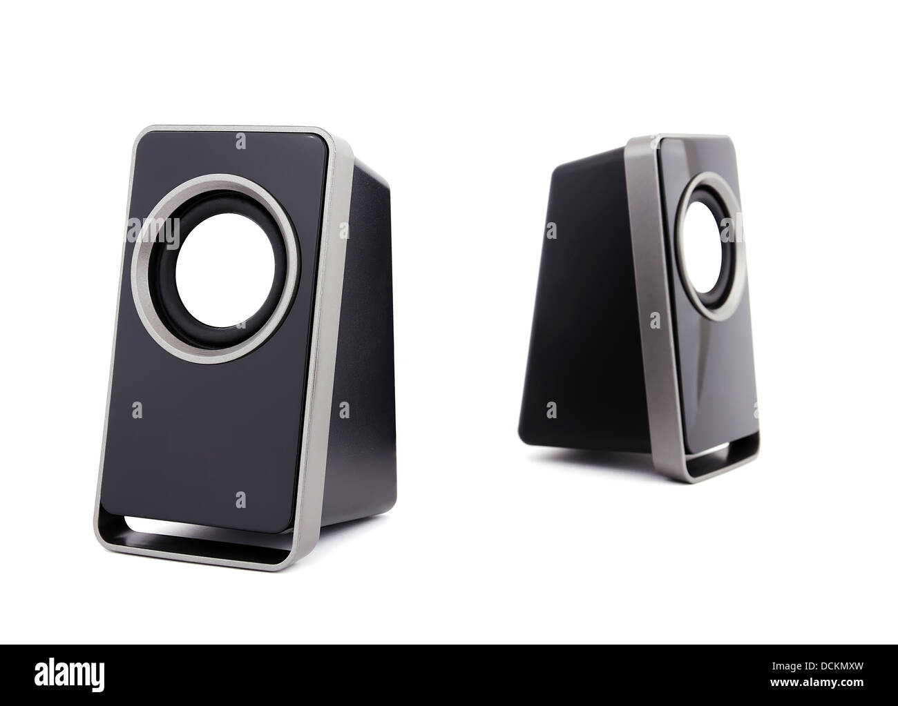 two computer speakers - Stock Image